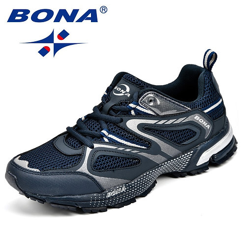 BONA New Arrival Classics Style Men Running Shoes Cow Split Mesh Men Sport Shoes
