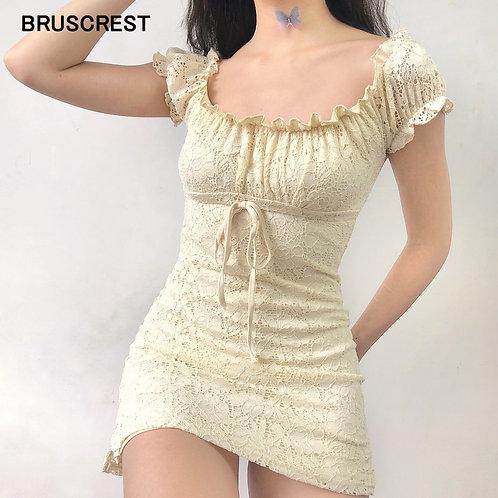 Summer Dress 2021 Vintage Boho Casual Lace Dress Elegant Mini Sexy Club