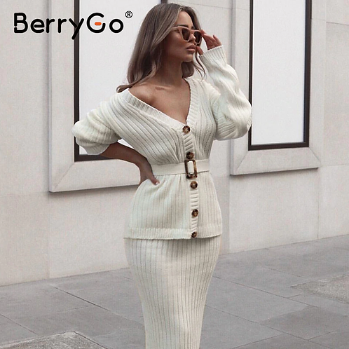 BerryGo Sexy V-Neck Women Knitted Skirt Suits Autumn Winter