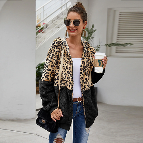 Autumn Winter Sweatshirts Women Hooded Leopard Hoodies Casual Zipper Long Sleeve