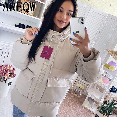 2020 Autumn Winter Cotton Parkas Oversized Coats and Jackets Womens Outerwear