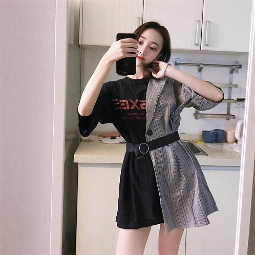 Ins Lattice Stitching Fake Two Piece Letter Dress Women's Clothes Japan Kawaii