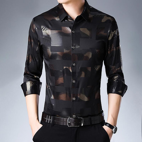2020 Brand Casual Spring Luxury Plaid Long Sleeve Slim Fit Men Shirt Streetwear