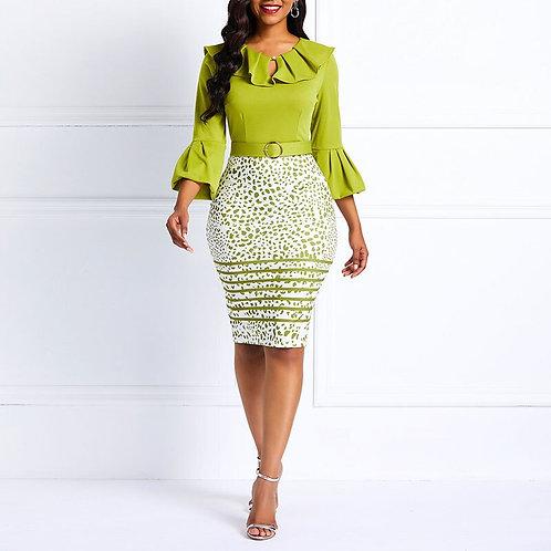African Women's Dresses Office Ladies Elegant Temperament Dress Lotus Leaf