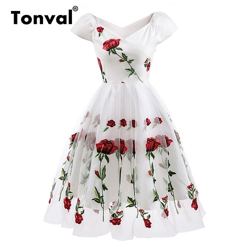 Rose Flower Embroidery v Neck Elegant Dress Pleated Mesh Overlay Floral White