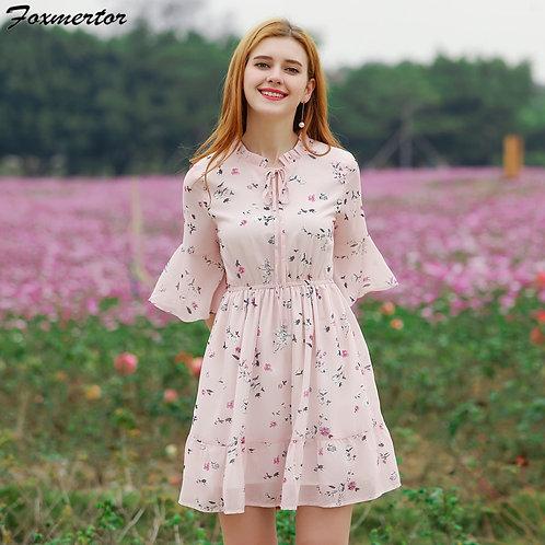 Women Summer Dress Printed Chiffon Women Dresses 2021 Boho Sweet Female Ruffles