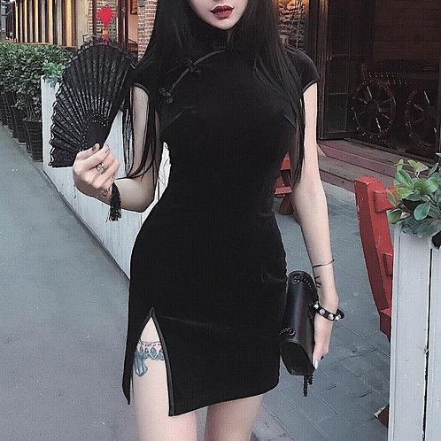 Goth Dark Women Dress Cheongsam Chinese Style Skinny Mini Dress Streetwear Sexy