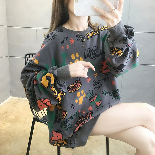 Large Size Cartoon Letter Sweatshirts Women 2020 Autumn Vogue Round Neck