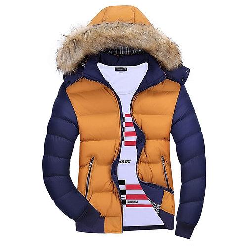 Winter Men Thick Parkas Hooded Fur Trim Patchwork Heavyweight Coats