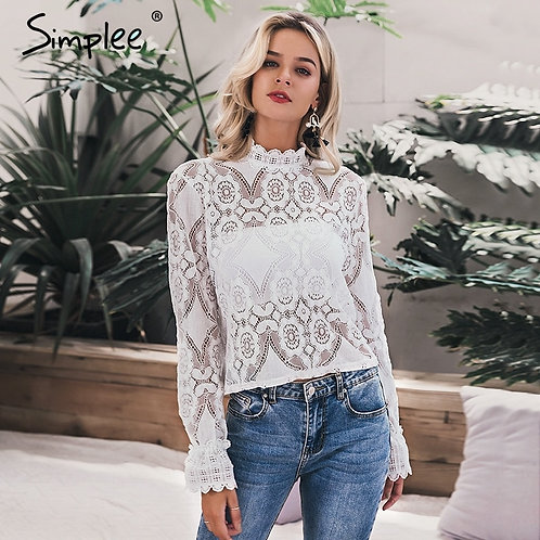 Simplee Elegant White Lace Blouse Shirt Sexy Hollow Out Embroidery
