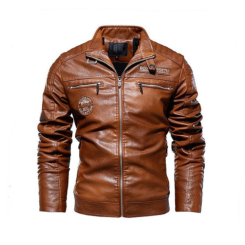 Motor PU Leather Jacket for Men New Casual Thick Fleece Faux Leather Outerwear