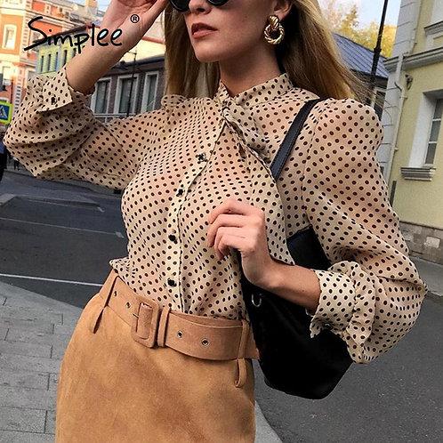 Simplee Vintage Polka Dot Long Sleeve Women Blouse Shirt Casul Spring Neck