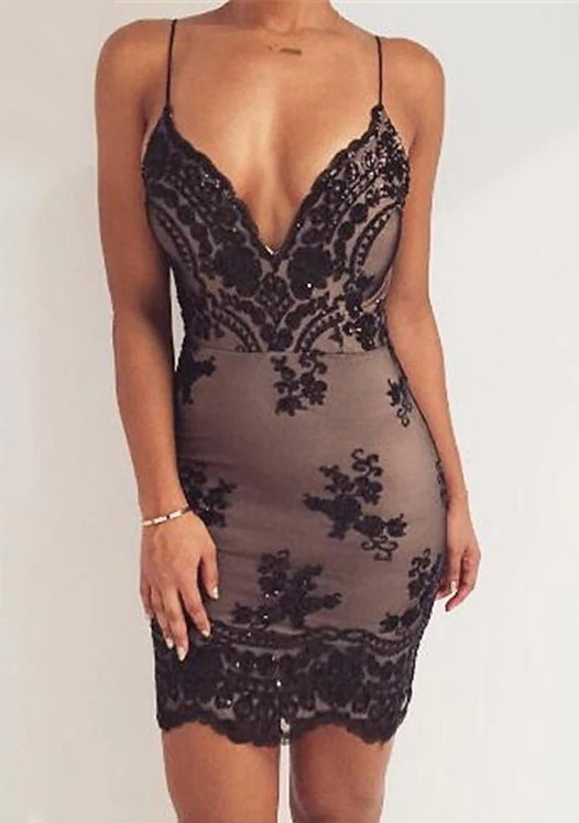 Sexy Club Outfits Sequins Summer Dress Women Mini Black Bodycon Party Dress
