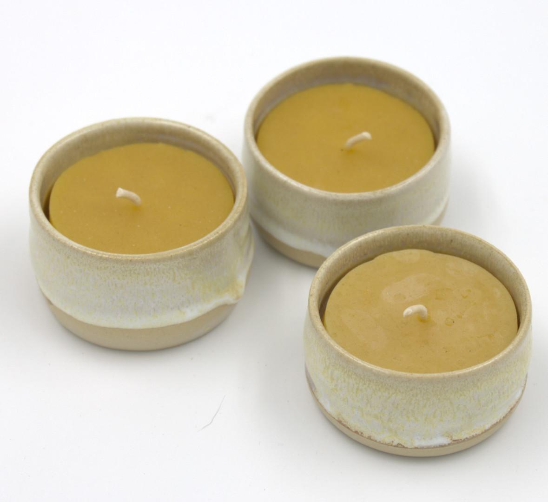 Keramikteelichter, ø ca. 6cm: 11,-/Stück
