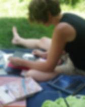 Christine beim Lernen
