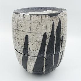große Raku-Urne für Aschekapsel