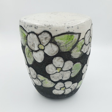 """Raku-Urne für Aschekapsel """"Apfelblüte"""""""