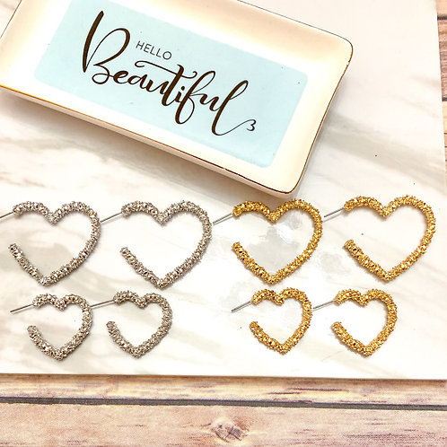 Silver or Gold heart earrings