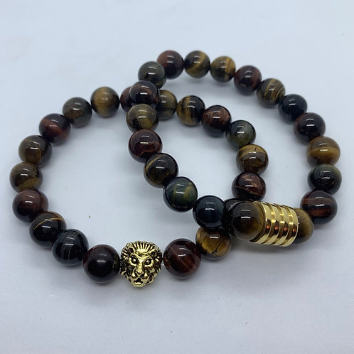 Men's  Lion Red Tiger Eye (set)