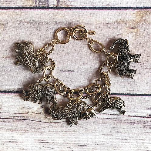 Brass Elephant Charm Bracelet