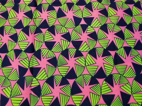 Pink and Green Ankara Fabric