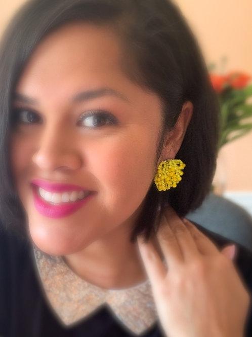 Beaded Flower Button Earrings