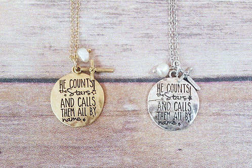 He Counts the stars Necklace (set)
