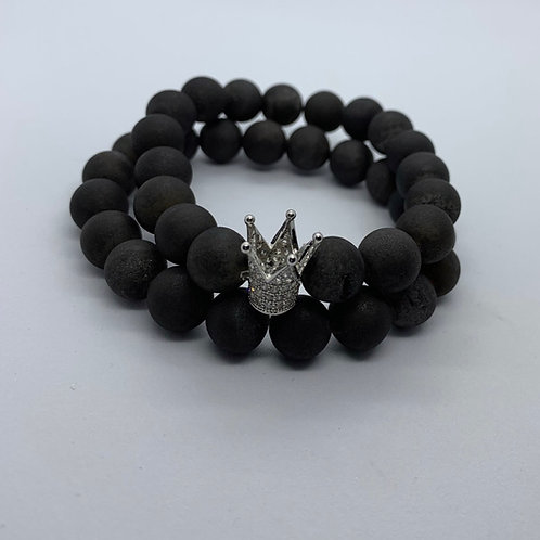 Men's Matted Druzy Crown Bracelet