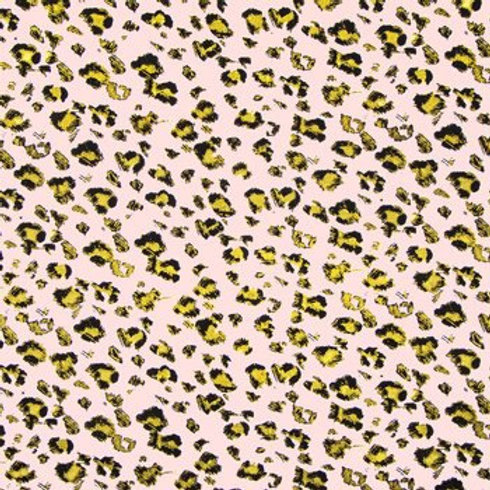 Black and gold leopard with pink background