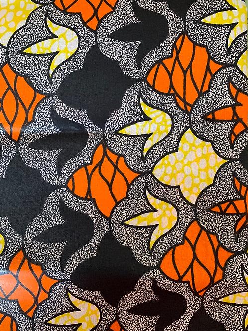 Black, orange & yellow leaf print