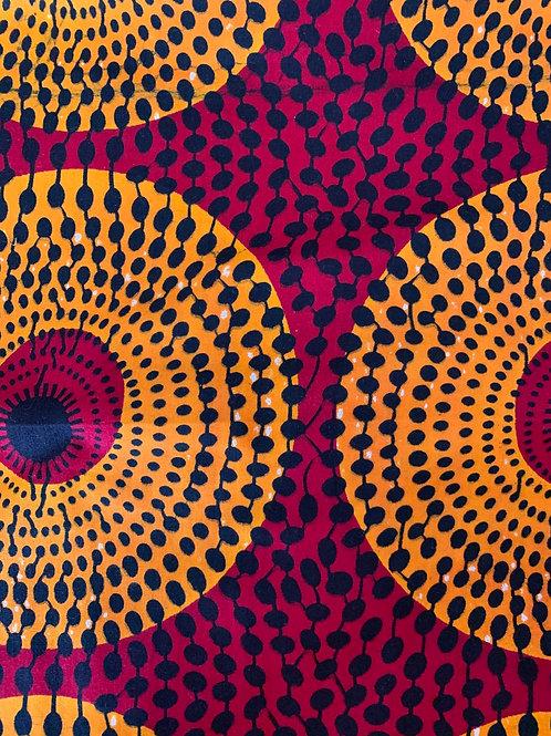 Deep red & orange circle print