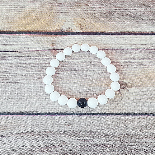 By & By - Polished White Agate & Polished Black Agate (8MM)