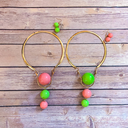 Pink & Green Bubble Necklace