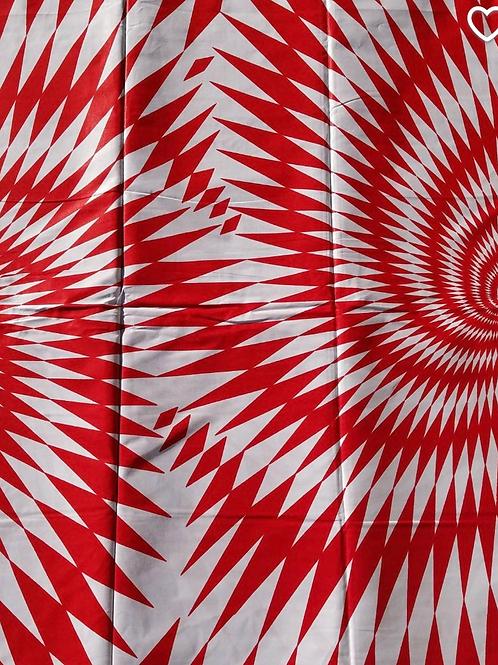 Red and white geo swirl Ankara fabric