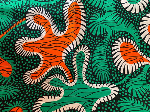 Orange & green multi print