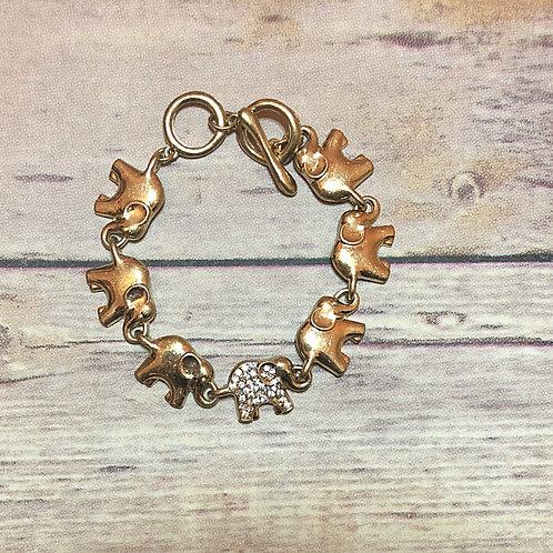 Crystal Elephant Link Bracelet