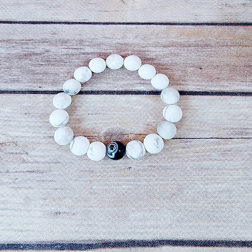 By & By - Matted White Turquoise & Polished Black Agate- AB (10MM)