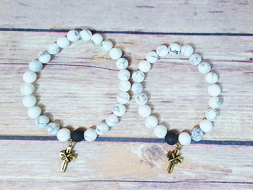 By & By Charm - White Turqouise & Black Druzy