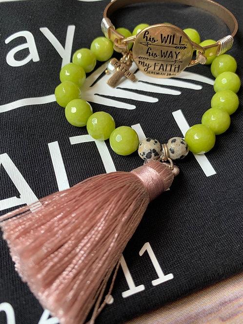 Hand beaded semi precious stone bracelet with mauve tassel
