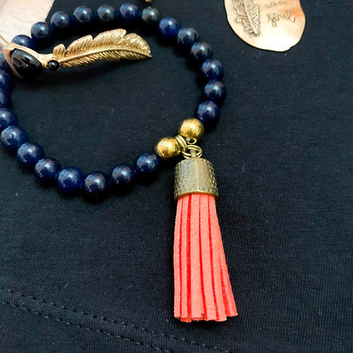 Navy Blue & Black with coral tassel
