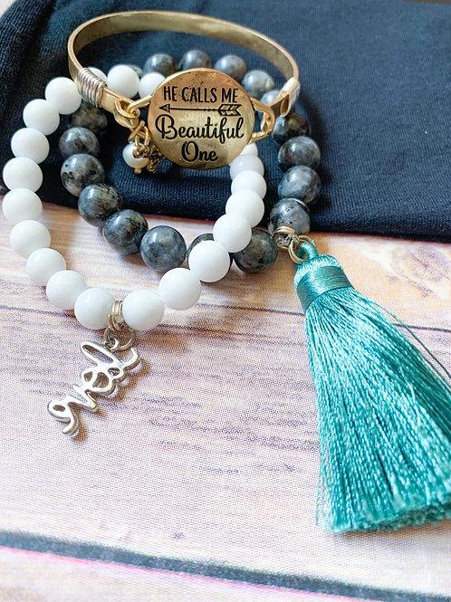 Mix grey semi precious stone bead bracelet with Turkish blue tassel