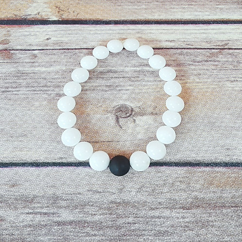By & By  Polished White Jade & Black Matted Druzy Agate (8mm Beads)