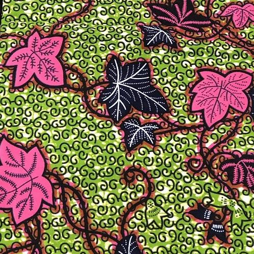 Pink and green ivy Ankara print
