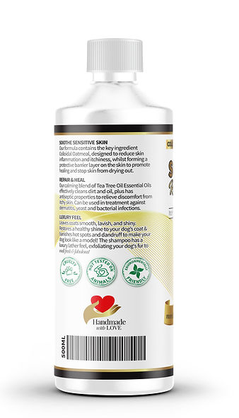 HWL pet supplies dog shampoo left label