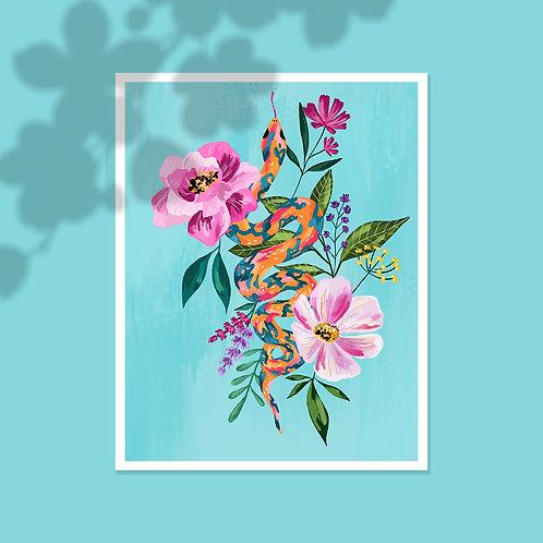 Serpiente y flores
