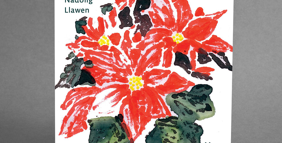 Welsh Poinsettia Christmas Cards - pack of 6