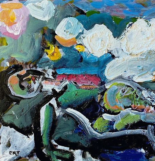 """Christina Juran- """" Figure in Landscape with Floating Clouds"""""""