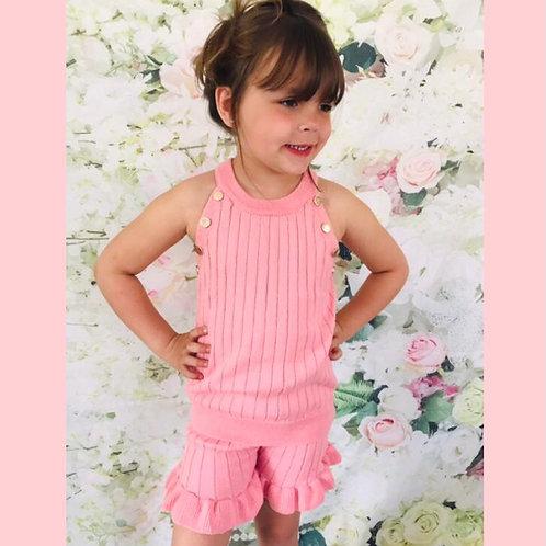 Pink/Gold Button Shorts set