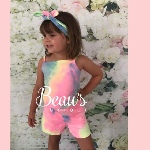 Rainbow Tie Dye Playsuit with Head band