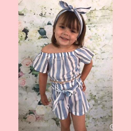 Stripe blue head band shorts set